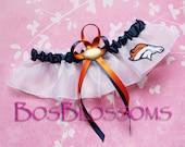 DENVER BRONCOS fabric handmade into wedding bridal prom keepsake garter - size xs s m l xl xxl