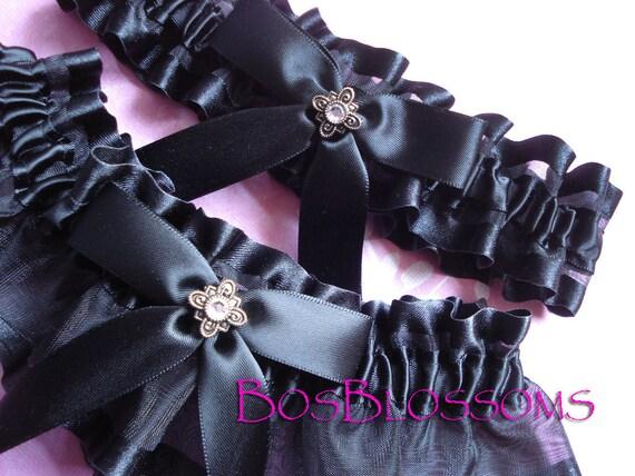 Black satin edge organza wedding garters - garter set w/crystal charm accent - size xs s m l xl xxl