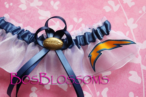 SAN DIEGO CHARGERS fabric handmade into smoke blue wedding bridal keepsake garter - size xs s m l xl xxl or xxxl
