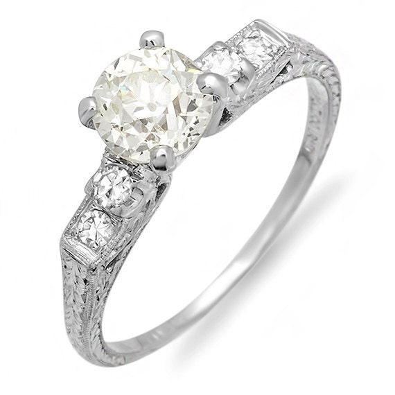 RESERVED LISTING for ERIN Platinum Diamond Estate Engagement Ring, Total Diamond Weight 1.02 carat