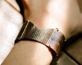 Iguana skin and batiked brass bracelet