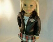American Girl Dolls Biker Babe Jacket, Skirt with belt, Long sleeved Tee  by MI GURLZ CLOTHING