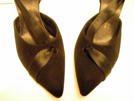 Black satin ribbon,rhinestone buckle slingback shoes size 6 1/2M from the sixties