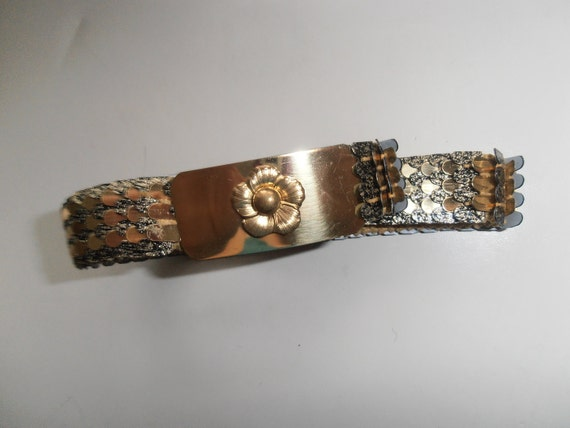 Hold for Justine - do not buy Vintage gold metal scalloped Disco belt size small