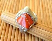 Pewter and semi precious hand made stone ring Jasper Cream Agate