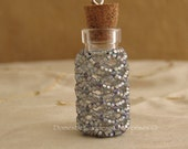 Beaded Miniature Glass Bottle