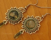 Bead Embroidered Moss Agate Earrings