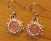 Reserved for Berangere Bead Embroidered Rose Quartz Cabochons Earrings