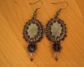 Victorian Inspired Bead Embroidered Dark Mother of Pearl Earrings