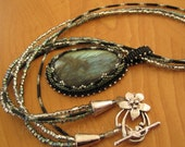 Labradorite Pendant Peyote Bead Bezeled Multi Strand Necklace
