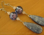 SALE  Kyanite Drop Earrings with Lampwork Beads