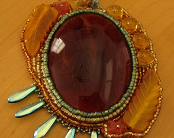 Bead Embroidered Amber Glass Pendant