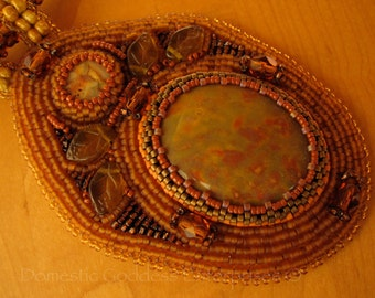 Bead Embroidered Pendant in Fall Colors