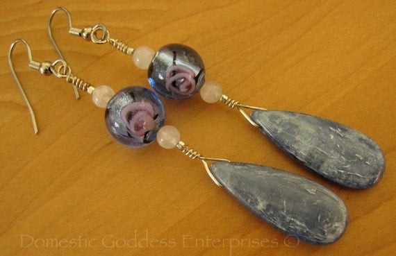 SALE  Kyanite Drop Earrings with Lampwork Beads