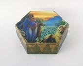 Treasury Box , Jewelry box /African Princess Hexagonal Geometric box  (MDF) gift for women