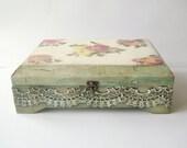 Lovely Roses Vintage Look Wooden Lace Sewing / Needlework / Jewerly /  Memories box / Treasures Trinket Keepsake Box...