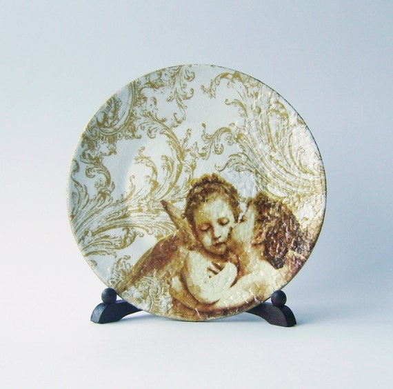Kissing angels Decorative Decoupage Ceramic Plate for Wall