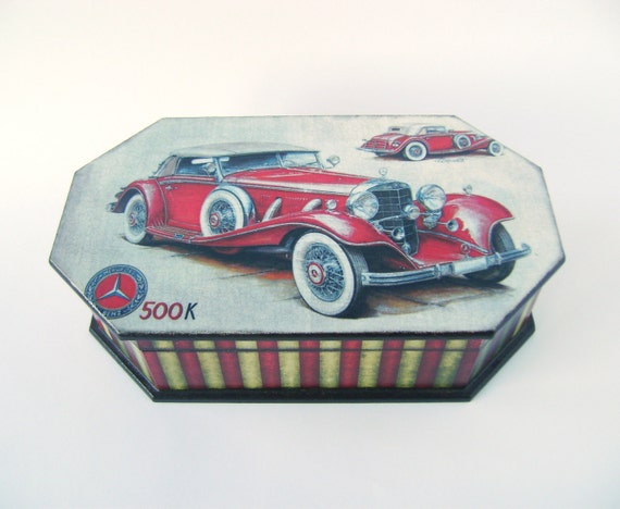 Red Retro Mercedes Decoupeded Box (MDF) Vintage Look Wooden Trinket / Memories box for Men