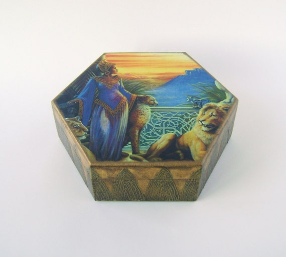 Treasury Box , Jewelry box /African Princess Hexagonal Geometric box  (MDF) gift for women