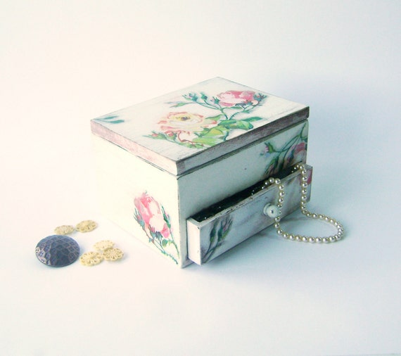 Treasury Box , Jewelry box/ Vintage Wooden Distressed Box  with a mirror and drawer/ Shabby chic