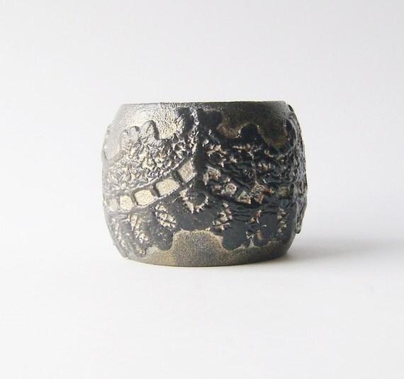 Victorian Gothic Black Silver Wooden Lace Cuff Bracelet