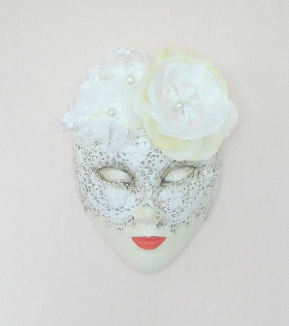 Venetian Mask / Decorative Ceramic Hanging Lace Mask / Wall House Decor