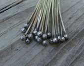 pkg of (10) - 4 inch Solid 925 Sterling Silver 18 Gauge Rustic Ball Tip Headpins