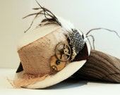 Steampunk cog, feather and vintage lace cream mini top hat fascinator