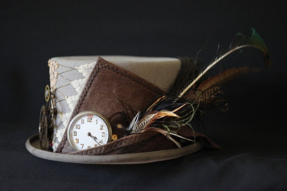 Large grey steam punk Mad Hatter cogs, clockwork, feathers, lace and leather decorated top hat