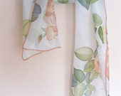 Hand painted Silk scarf Peach coral flowers roses Floral spring accessory