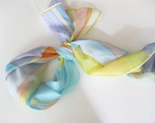 Hand painted silk scarf Spring fashion Geometric colorful stripes - DEsilk