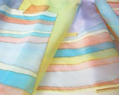Hand painted Silk scarf Summer fashion Geometric colorful stripes - DEsilk