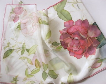 Hand painted silk scarf Bridal accessories Roses red and white - made TO ORDER