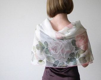 Chiffon silk scarf, hand painted silk, Wedding accessory, Bridal scarf, white floral scarf, silk art - made TO ORDER