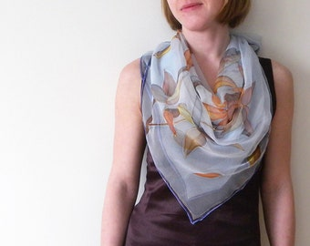 Silk scarf Hand painted on chiffon Wearable art Sky blue brown flowers - made TO ORDER