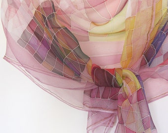 Chiffon scarf, hand painted silk, abstract scarf, art lover gift, women scarf purple, silk gift handmade - made TO ORDER