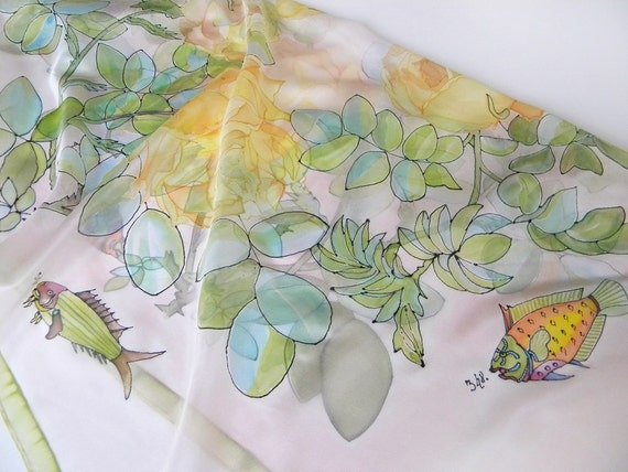 Hand painted Square silk scarf Sea of Roses Pastel green yellow floral fishes