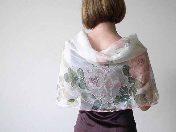 Silk chiffon scarf Hand painted Wedding accessories White pink purple roses - made TO ORDER
