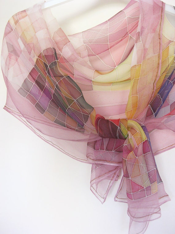 Silk chiffon abstract scarf Hand painted Christmas gift Geometric purple - made TO ORDER
