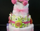 FREE US SHIPPING Pink and Green Girl's 4-tier Diaper Cake