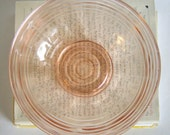 Vintage pink pressed glass bowl