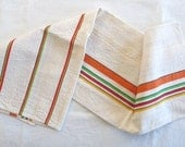 Vintage  LINEN TEA TOWEL , Natural White with Colored stripes, cotton/linen.