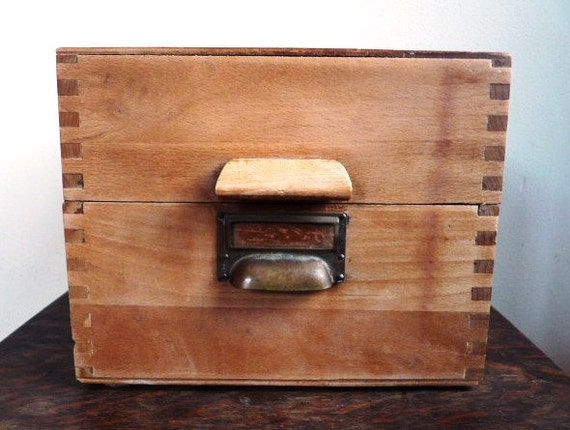 Vintage CARD FILE BOX Industrial Office Home decor