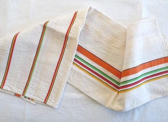 Vintage  LINEN TEA TOWEL , Natural White with Colored stripes, cotton/linen.