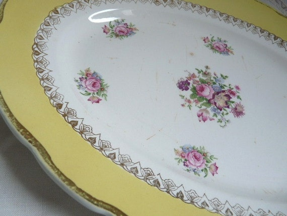 Antique PORCELAIN OVAL PLATE, stamped and numbered in Digoin Sarreguemines. French antique dinnerware.