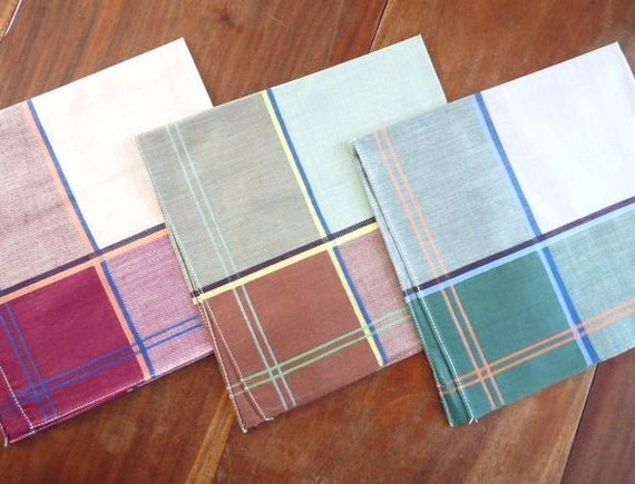 Vintage Set of 3 FRENCH HANKERCHIEFS, Hankies for men, Brown, Purple and Green, cotton.