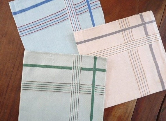 Vintage Set of 3 FRENCH HANKERCHIEFS, Hankies for men, Bleu, Green and Salmon Pink, cotton.