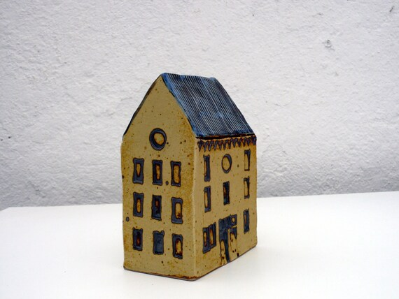 Tall Yellow and Rust  House With Blue Roof. OOAK.