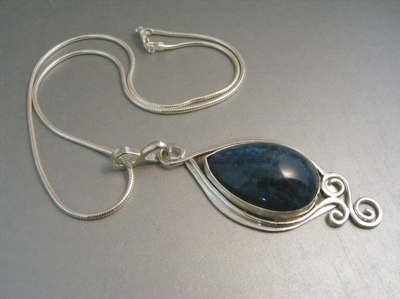 Blue pendant, apatite gemstone, vibrant dramatic large natural stone in sterling silver