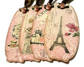 Paris Gift Tags, Cottage Chic, Bridal Shower Tags, Wedding Hang Tags, Vintage Paris, Pale Pink, Parisian, Eiffel Tower, Party Favor Tags